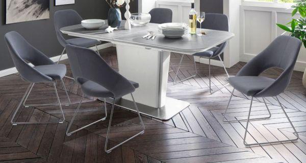 Esstisch Koami in matt weiß echt Lack mit Keramik-Tischplatte in grau Säulentisch ausziehbar 180 / 230 x 95 cm