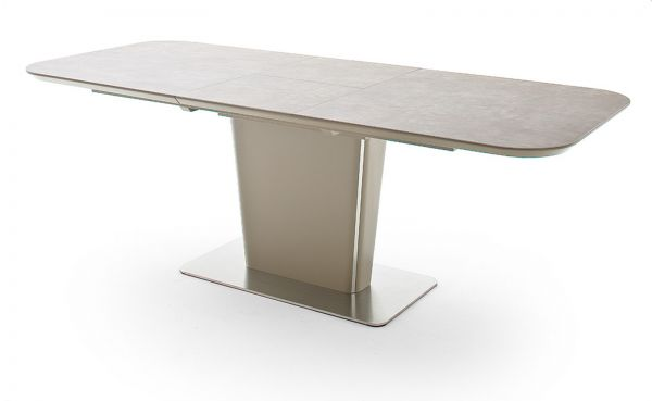 Esstisch Koami in matt Taupe echt Lack mit Keramik-Tischplatte in Taupe Säulentisch ausziehbar 160 / 210 x 90 cm