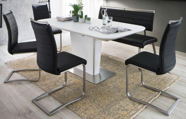 Esstisch Ubora in matt weiß echt Lack mit Synchronauszug 140 / 180 x 85 cm Säulentisch ausziehbar