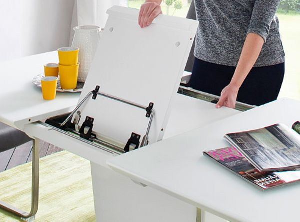 Esstisch Ubora in matt weiß echt Lack mit Synchronauszug 180 / 230 x 95 cm Säulentisch ausziehbar