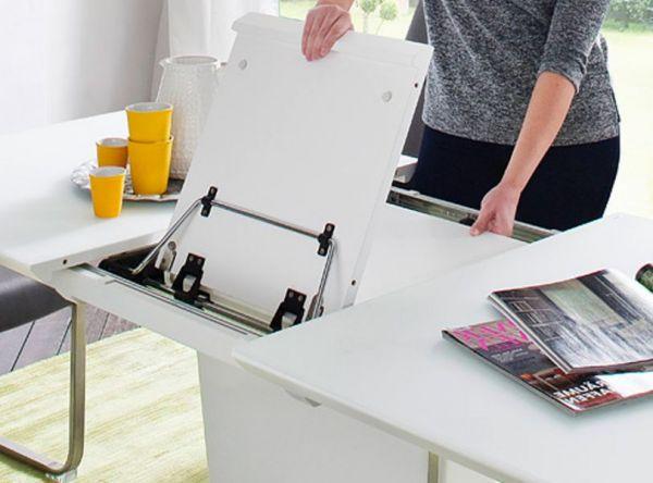 Esstisch Ubora in matt Taupe echt Lack mit Synchronauszug 140 / 180 x 85 cm Säulentisch ausziehbar