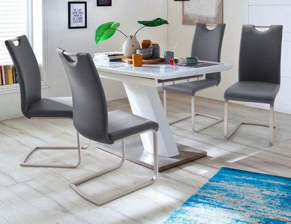 Esstisch Galina in Hochglanz weiß echt Lack mit Synchronauszug 140 / 180 x 80 cm Säulentisch ausziehbar