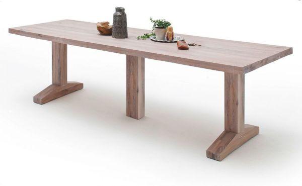 Esstisch Lunch in Eiche gekälkt massiv matt lackiert Massivholztisch 300 x 120 cm