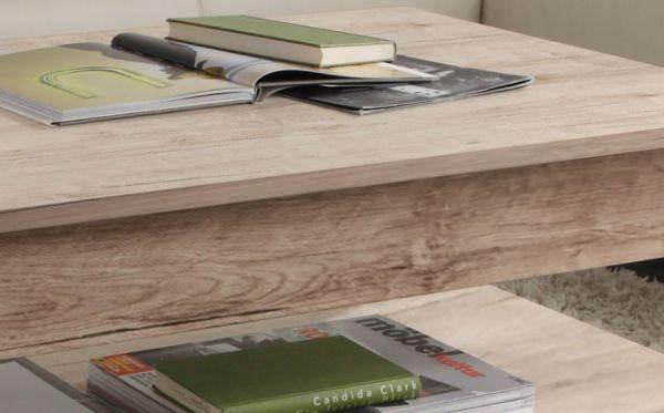 Couchtisch in Eiche San Remo Sand 110 x 47 cm Holztisch mit Ablage