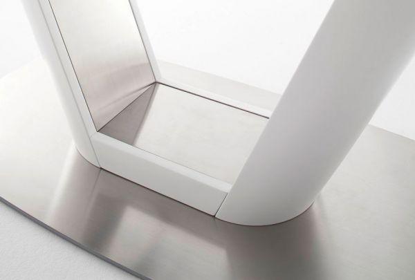 Esstisch Vanita in matt weiß echt Lack mit Synchronauszug 160 / 210 x 95 cm Säulentisch ausziehbar