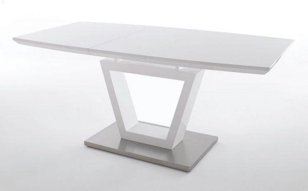 Esstisch Nicolo in Hochglanz weiß echt Lack mit Synchronauszug 140 / 180 x 90 cm Säulentisch ausziehbar
