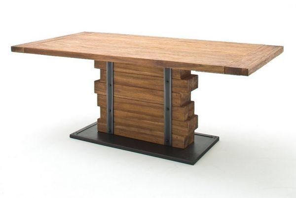 Esstisch Seram in Teak-Holz massiv lackiert Säulentisch 200 x 100 cm