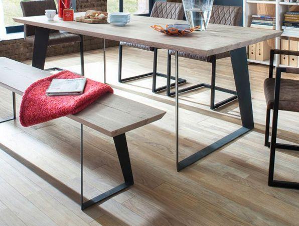 Esstisch Janek in Eiche gekälkt massiv Tisch mit Metallgestell in Antiklook 180 x 90 cm Kufentisch