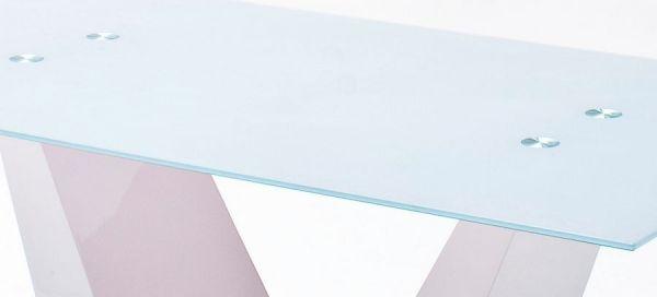 Esstisch Franjo in Hochglanz weiß echt Lack und Glas Säulentisch 150 x 90 cm Glastisch