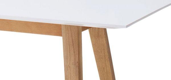 Esstisch Cervo in matt weiß echt Lack mit Asteiche massiv Küchentisch 140 x 80 cm