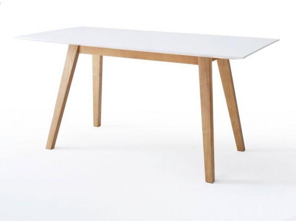 Esstisch Cervo in matt weiß echt Lack mit Asteiche massiv Küchentisch 180 x 90 cm