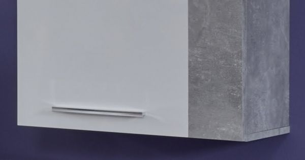 Wohnwand Rock in weiß Hochglanz und Stone grau Medienwand 3-teilig 200 x 186 cm