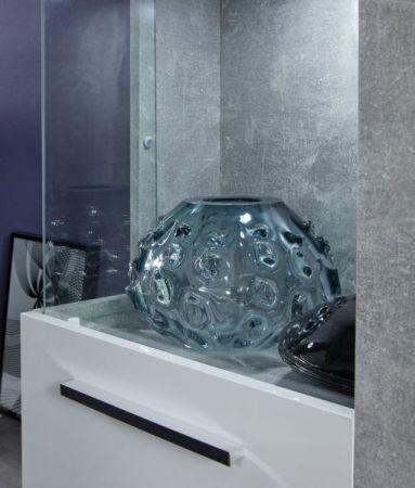 Wohnwand Rock in weiß Hochglanz und Stone Design grau Schrankwand 4-teilig 270 x 186 cm