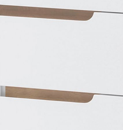 Sideboard Cervo in matt weiß echt Lack mit Asteiche massiv Kommode 145 x 76 cm