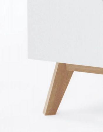 Highboard Cervo in matt weiß echt Lack mit Asteiche massiv Vitrinenschrank 155 x 138 cm