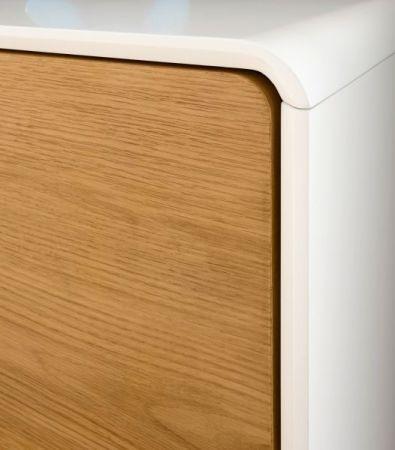 TV-Lowboard Toulon in matt weiß echt Lack mit Asteiche massiv Fernsehtisch 170 x 40 cm Corin