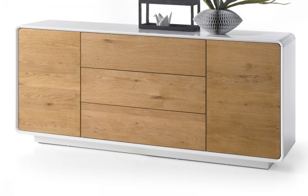 Sideboard Toulon in matt weiß echt Lack mit Asteiche massiv Kommode 170 x 76 cm Corin