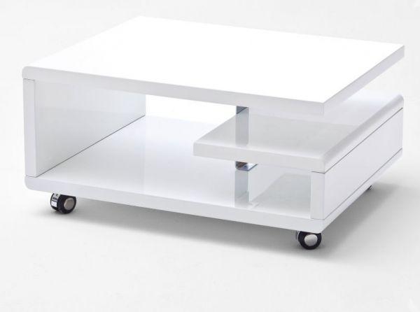 Couchtisch Kira in Hochglanz weiß echt Lack Wohnzimmertisch auf Rollen 74 x 36 cm