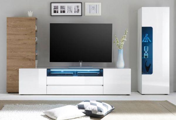 TV-Lowboard Vicenza in Hochglanz weiß echt Lack TV-Unterteil 203 x 49 cm