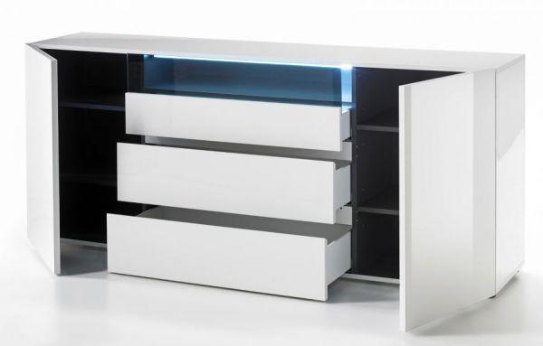 Sideboard Vicenza in Hochglanz weiß echt Lack Kommode 185 x 79 cm