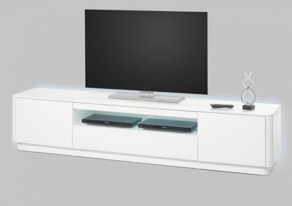 TV-Lowboard Menton in matt weiß echt Lack Fernsehtisch 180 x 47 cm mit LED Beleuchtung