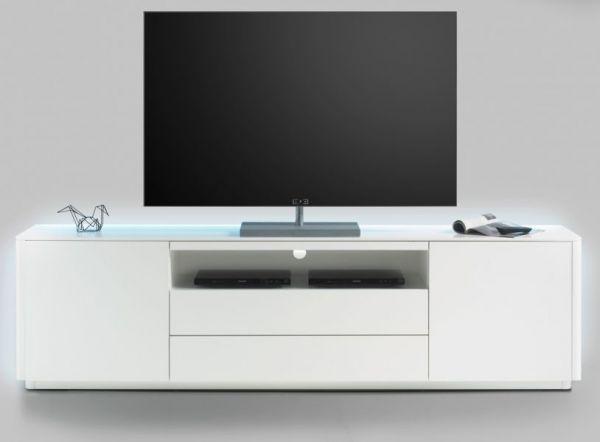 TV-Lowboard Menton in matt weiß echt Lack Fernsehtisch 204 x 57 cm inkl. rückseitige LED Beleuchtung