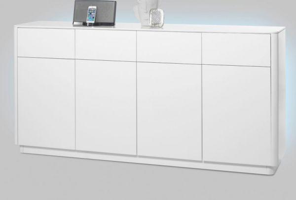 Sideboard Menton in matt weiß echt Lack Anrichte 180 x 87 cm inkl. rückseitige LED Beleuchtung
