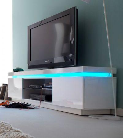 TV-Lowboard Ocean in Hochglanz weiß echt Lack TV-Unterteil inkl. LED Beleuchtung mit Farbwechsel 175 x 49 cm