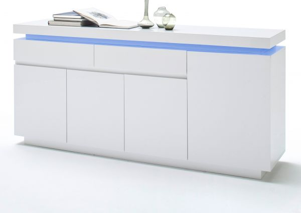Sideboard Ocean in weiß Hochglanz Lack Kommode inkl. LED Beleuchtung mit Farbwechsel 175 x 81 cm