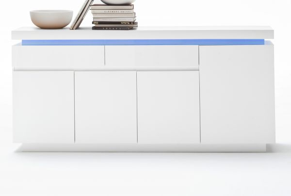 Sideboard Ocean in Hochglanz weiß echt Lack Kommode inkl. LED Beleuchtung mit Farbwechsel 175 x 81 cm