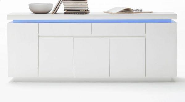 Sideboard Ocean in Hochglanz weiß echt Lack Kommode inkl. LED Beleuchtung mit Farbwechsel 200 x 81 cm