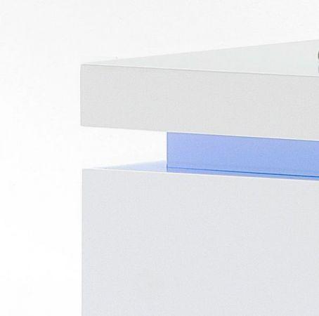 Highboard Ocean in Hochglanz weiß echt Lack Anrichte inkl. LED Beleuchtung mit Farbwechsel 120 x 114 cm