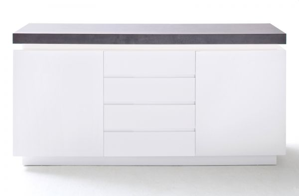 Sideboard Atlanta in matt weiß echt Lack mit Stone Design Kommode inkl. dimmbarer LED Beleuchtung 150 x 80 cm