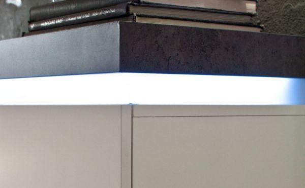 Kommode Atlanta in matt weiß echt Lack mit Stone Design Anrichte inkl. dimmbarer LED Beleuchtung 120 x 113 cm