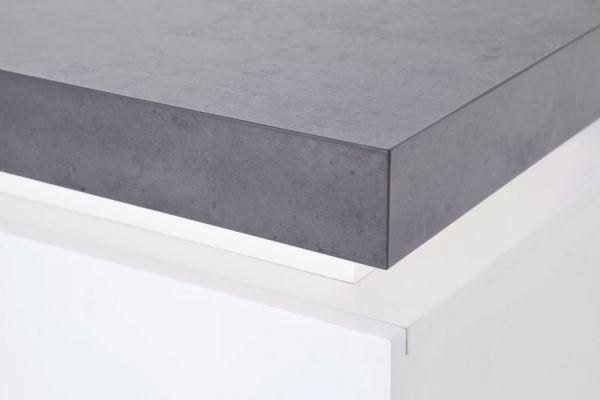 Highboard Atlanta in matt weiß echt Lack mit Stone Design Anrichte inkl. dimmbarer LED Beleuchtung 120 x 113 cm