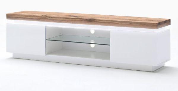 TV-Lowboard Romina in matt weiß echt Lack mit Eiche massiv Fernsehtisch inkl. dimmbarer LED Beleuchtung 175 x 49 cm