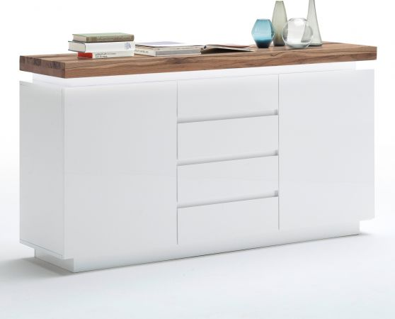 Sideboard Romina in matt weiß echt Lack mit Eiche massiv Kommode inkl. dimmbarer LED Beleuchtung 150 x 81 cm