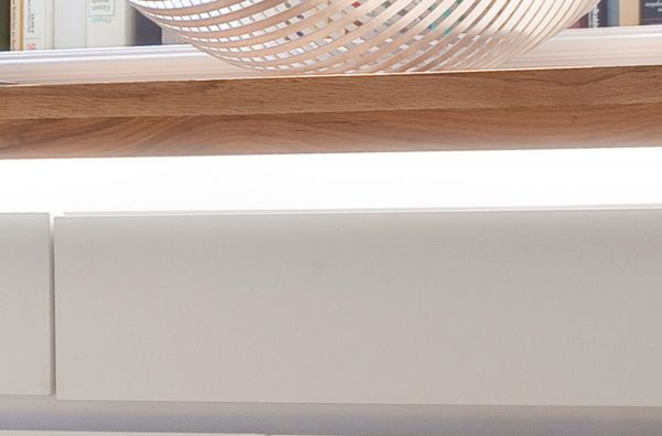 Kommode Romina in matt weiß echt Lack mit Eiche massiv Anrichte inkl. dimmbarer LED Beleuchtung 120 x 114 cm