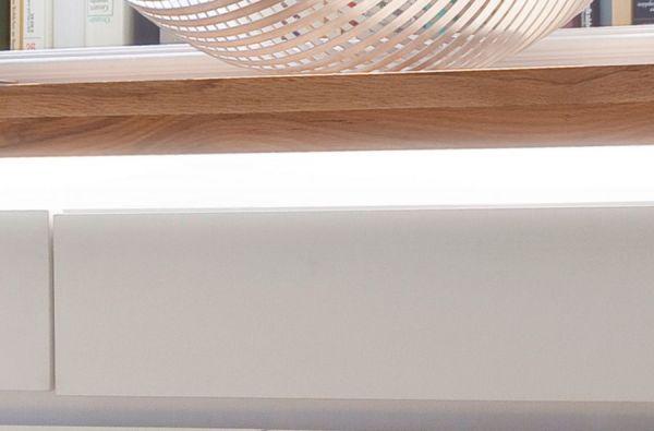 Highboard Romina in matt weiß echt Lack mit Eiche massiv Anrichte inkl. dimmbarer LED Beleuchtung 120 x 114 cm
