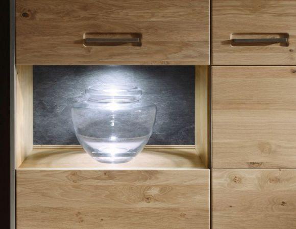 Hängevitrine Espero in Asteiche Bianco massiv geölt Hängeschrank Vitrinenfach rechts 94 x 120 cm