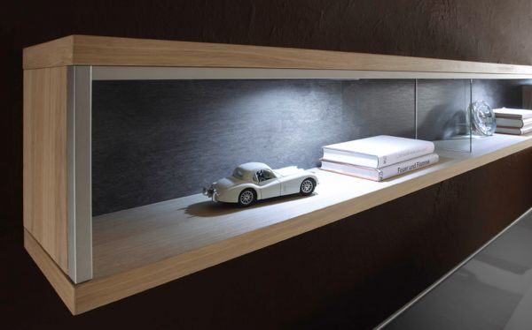 Wandregal Espero in Asteiche Bianco Wandboard 184 x 27 cm