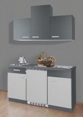 """Singleküche """"Petra"""", grau und weiß (150 cm) komplett mit Elektrogeräten"""