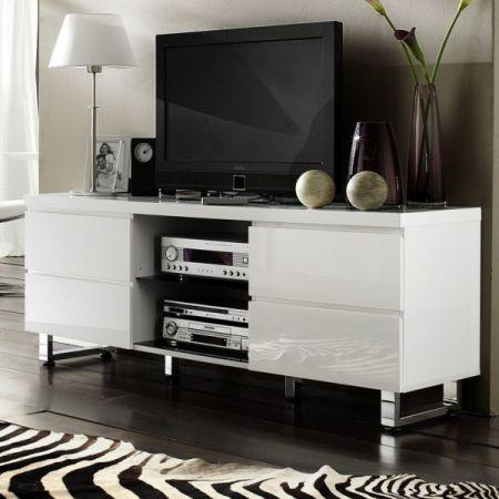 TV-Lowboard Sydney in Hochglanz weiß echt Lack TV-Unterteil 167 x 63 cm