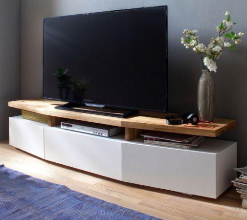 TV-Lowboard Sophie in matt weiß echt Lack mit Asteiche massiv Fernsehtisch 180 x 39 cm