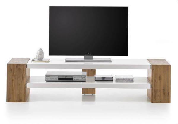 TV-Lowboard Jane in Asteiche massiv und matt weiß TV-Unterteil 170 x 40 cm