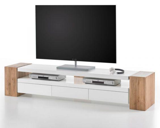 TV-Lowboard Jule in Asteiche massiv und matt weiß TV-Unterteil 200 x 40 cm
