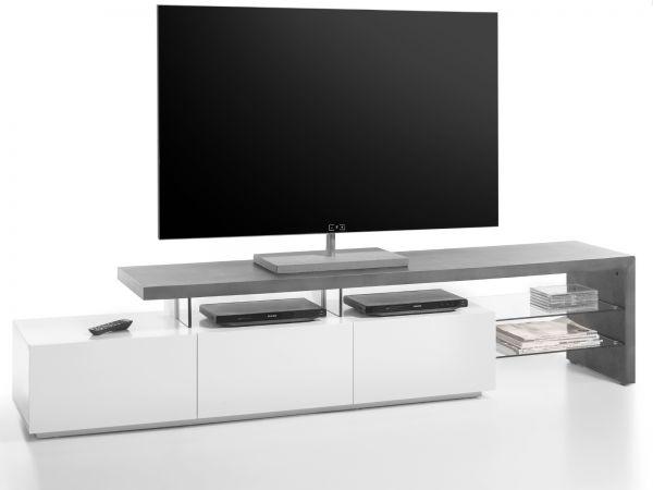 TV-Lowboard Alimos in Stone Design grau und matt weiß Fernsehtisch 204 x 44 cm