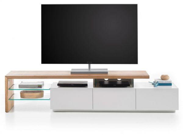 TV-Lowboard Alimos in Asteiche massiv geölt und matt weiß Fernsehtisch 204 x 44 cm