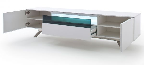 TV-Lowboard Lenia in weiß matt echt Lack TV-Unterteil inkl. LED Beleuchtung 183 x 46 cm