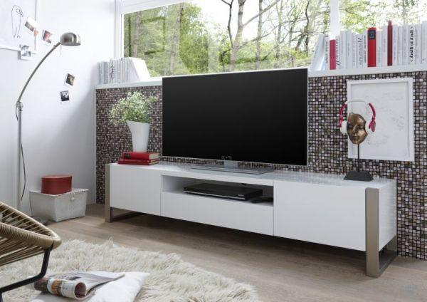 TV-Lowboard Amber in weiß matt echt Lack Fernsehtisch 180 x 40 cm